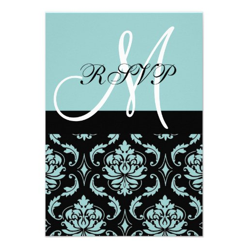 Light Blue Black Damask Wedding RSVP with Initial Personalized Invitations