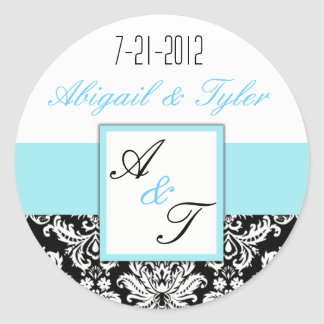 Light Blue Black Wedding Monogram Damask Sticker