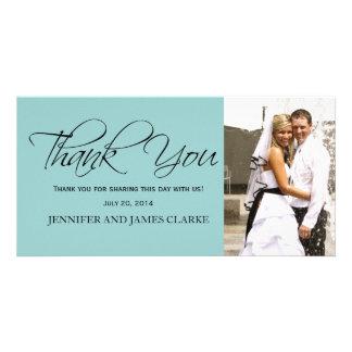 Light Blue Black Wedding Thank You Photo Cards