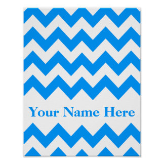 Light Blue Bold Chevron with monogram Poster