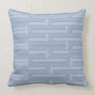 Light Blue Brick Wall Pillow