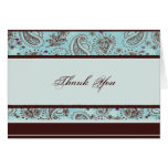 Light Blue Brown Paisley Wedding Thank You card