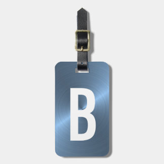 light Blue Brushed Metallic Monogram Initial Luggage Tag