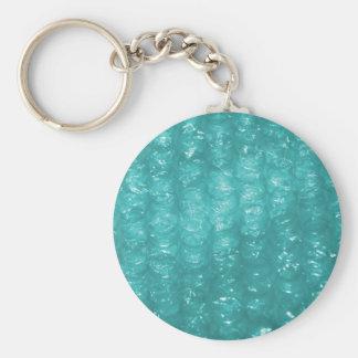 Light Blue Bubble Wrap Effect Basic Round Button Key Ring