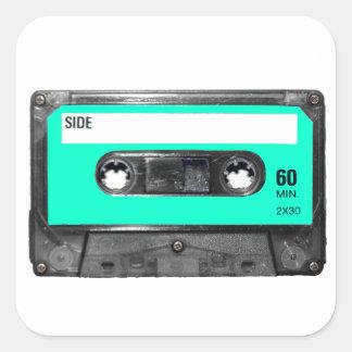 Light Blue Cassette Square Sticker