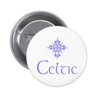 Light Blue Celtic with Cross Pinback Buttons