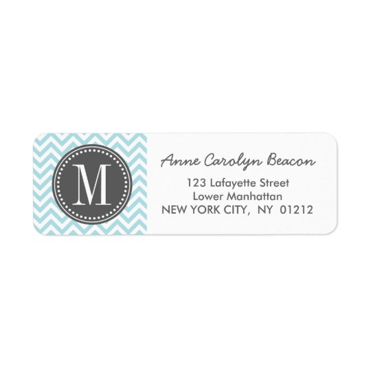 Light Blue Chevron Zigzag Personalised Monogram Return Address Label