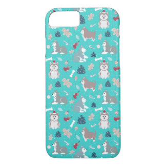 Light Blue Christmas Husky Dog iPhone 7 Case
