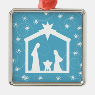 Light Blue Christmas Nativity Christmas Ornaments