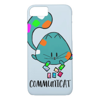light blue Communicat cartoon cat phone case