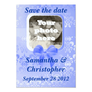 Light blue damask add your photo save the date 5x7 paper invitation card