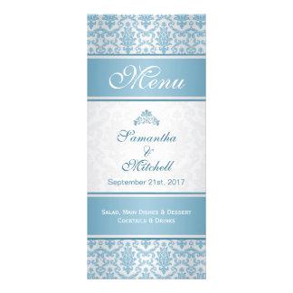 Light blue damask on silver Menu Rack Card Template