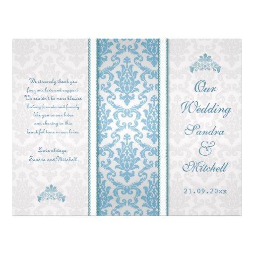 Light blue damask on silver Wedding Program Full Color Flyer
