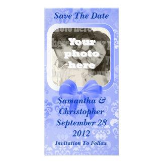 Light blue damask save the date wedding card