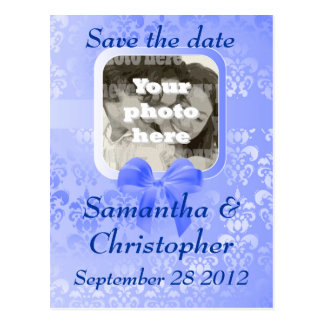 Light blue damask save the date wedding invite postcard