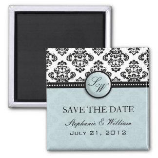 Light Blue Damask Wedding Save The Date Magnet