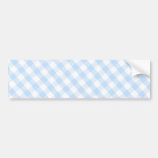 Light blue diagonal gingham pattern car bumper sticker