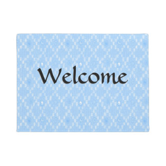 Light Blue Diamond Pattern Print Doormat