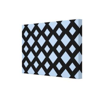 Light Blue Diamonds on Black Stretched Canvas Prints