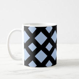 Light Blue Diamonds on Black Basic White Mug