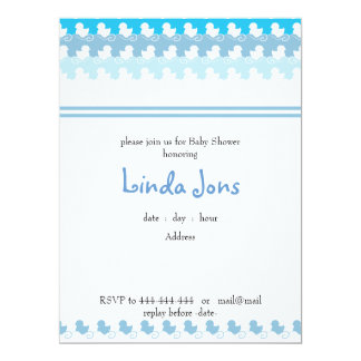 light blue duck row baby shower invitation