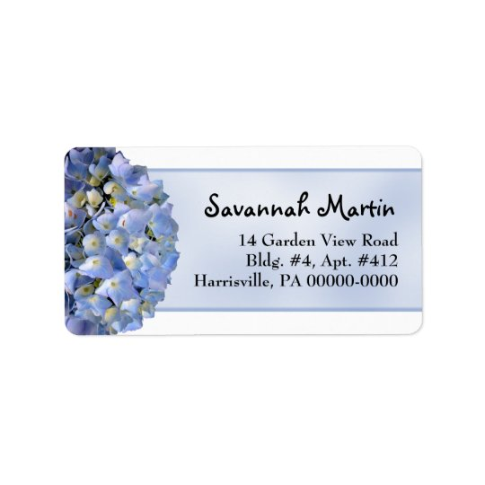 Light Blue Floral Hydrangea Wide Label