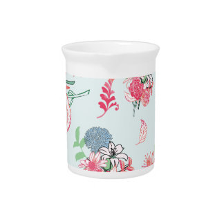 Light Blue Floral Pattern Design Beverage Pitchers