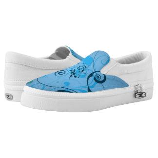 Light blue floral printed shoes