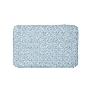 Light Blue Flower Pattern Bath Mats