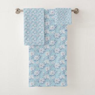 Light Blue Flower Pattern Bathroom Towel Set