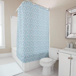 Light Blue Flower Pattern Shower Curtain