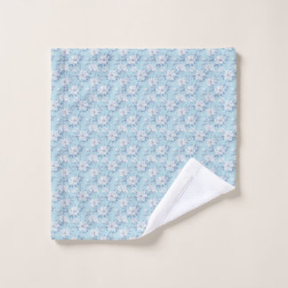 Light Blue Flower Pattern Wash Cloth