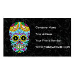 Light Blue Flowers Mexican Tattoo Sugar Skull Pack Of Standard Business Cards