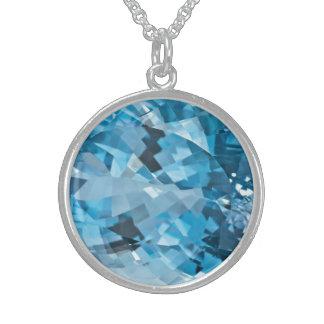 Light blue Gemstone Aquamarine March Birthstone Sterling Silver Necklace
