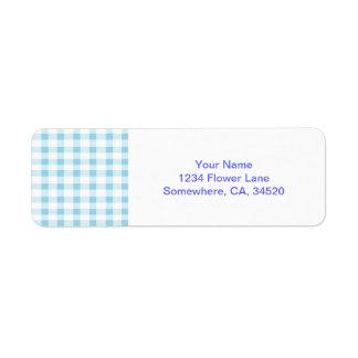 Light Blue Gingham Return Address Label