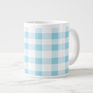 Light Blue Gingham Large Coffee Mug