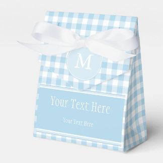 Light Blue Gingham & Monogram Favor Bag Favour Box