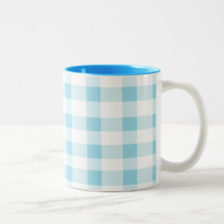 Light Blue Gingham Two-Tone Mug