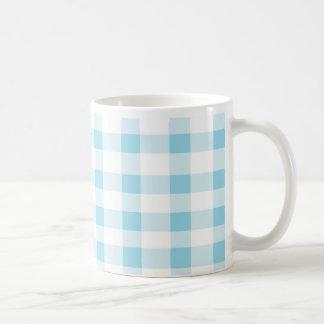 Light Blue Gingham Basic White Mug