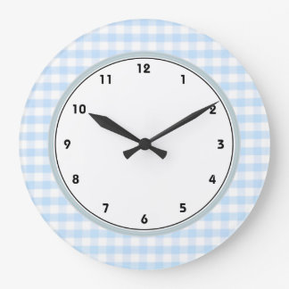 Light blue gingham pattern large clock