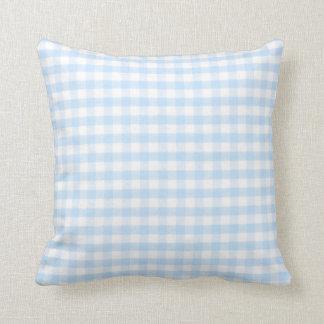 Light blue gingham pattern throw cushion
