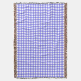 Light Blue Gingham Throw Blanket