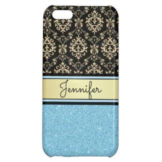 Light blue Glitter, Black Gold Swirls Damask name Case For iPhone 5C