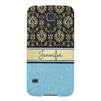 Light blue Glitter, Black Gold Swirls Damask name Galaxy S5 Covers