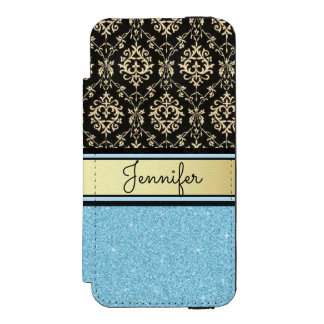 Light blue Glitter, Black Gold Swirls Damask name Incipio Watson™ iPhone 5 Wallet Case