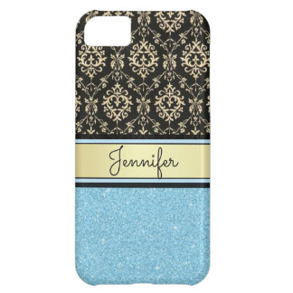 Light blue Glitter, Black Gold Swirls Damask name iPhone 5C Case