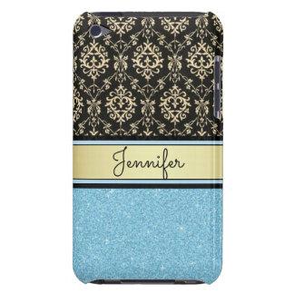 Light blue Glitter, Black Gold Swirls Damask name iPod Case-Mate Cases