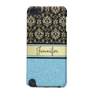 Light blue Glitter, Black Gold Swirls Damask name iPod Touch 5G Cover