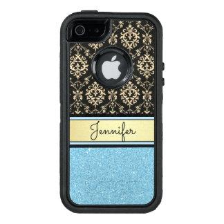 Light blue Glitter, Black Gold Swirls Damask name OtterBox Defender iPhone Case