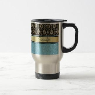 Light blue Glitter, Black Gold Swirls Damask name Travel Mug